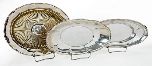 Three Sterling Oval Trays