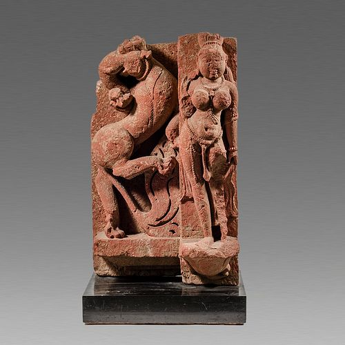 Indian Sandstone Deity and Griffin Stele c.10th century AD.