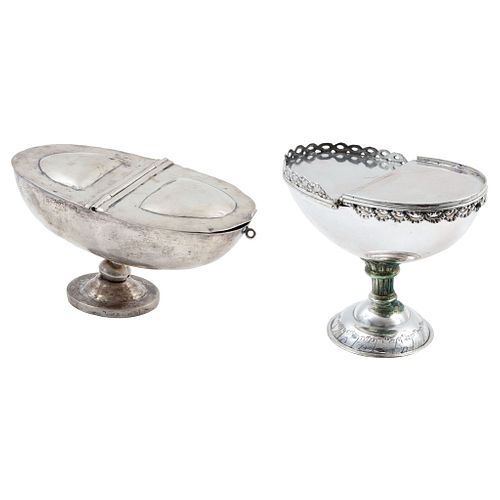 Pair of Incense Boats, Mexico, 19th century, One with smooth design, The second with geometric edge and chiseled details