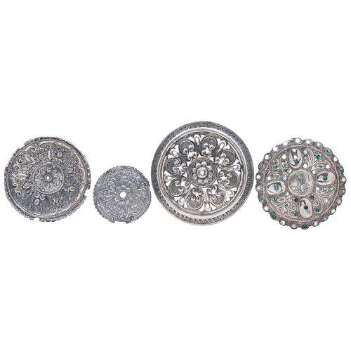 Lot of Medallions, Mexico, 19th century, Silver, Different decorations with geometric patterns, scrolls, floral motifs