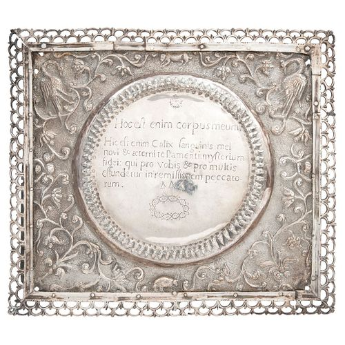 Altar Card, Mexico, 18th-19th centuries, Silver with wooden support, Latin inscription of Total Consecration Formula