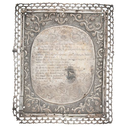 Altar Card, Mexico, 18th-19th centuries, Silver with wooden support, Latin inscription of Psalm 25 in center