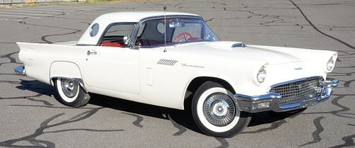 1957 Ford Thunderbird T-Bird, Colonial white with convertible hard top, red interior, power windows, one owner with original bill of sale plus window