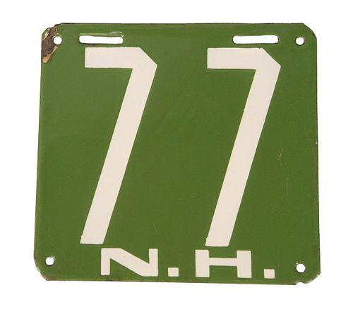 """New Hampshire License Plate 1905, #77, green and white enameled, marked """"77NH"""". 5 1/4 """" x 5 1/2""""."""