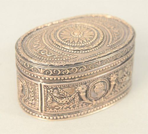 J. Kurz & Co., Hanau Silver Box, late 19th century having four embossed portraits and floral swag marked on bottom with crown, 800 J...