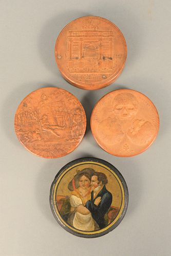 Four Round Snuff Boxes to include paper mache, having painted romantic figures; carved walnut box, 'Cranologie Du Docteur Gall', dia...