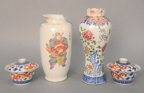 Four Piece Chinese Porcelain Group to include pair of porcelain dragon cups with covers having old brown paper label on bottom; porc...