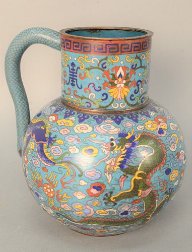 Chinese Cloisonne Pitcher with dragon and fish scale style handle. height 11 inches. Provenance: From the Robert Circiello Collectio...