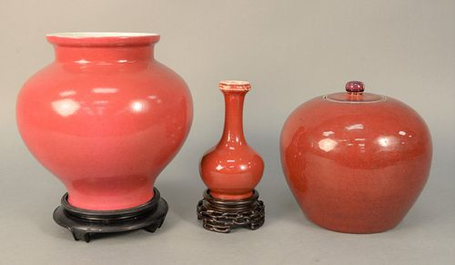Three-piece Chinese Porcelain Lot to include Chinese rose glazed vase having bulbous form, bottom having red seal mark on carved wood stand. height of