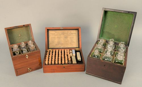 Group of Three Medical Apothecary Boxes, larger one opening to fitted interior with six bottles over one drawer having brass scale a...