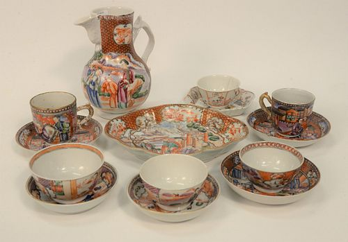 Chinese Export Porcelain Group of fourteen pieces to include six cups and saucers, teapot and oblong dish. height 6 3/4 inches. Prov...