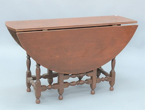 William & Mary Gateleg Dining Room Table in old red paint having oval top, over one long drawer on block turned legs ending in ball ...