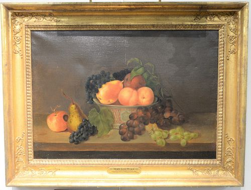 """Mary Jane Peale (1827 - 1902), oil on canvas, still life with bowl of fruit, 1860, inscribed """"RP"""" monogram on bowl; signed, dated an..."""