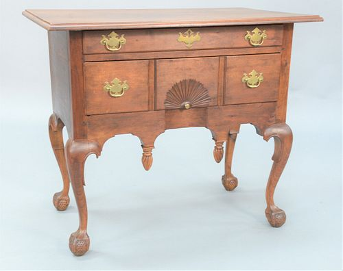 Chippendale Cherry Lowboy having large rectangular top over long drawer over long drawer with center fan carved drawers over drop pe...