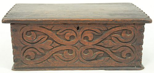 """Rare Diminutive Oak Box with hinged lid, front with """"S"""" scrolls, attributed to Thomas Dennis, Ipswich, Massachusetts, 1670 - 1700, c..."""