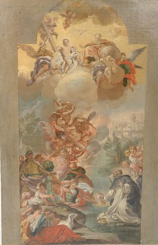 Modello Transfer Sketch with Gridding, oil on canvas, possibly Apotheosis St. Igntius, Saint Nicholas Recuing Adeodatus, old master ...