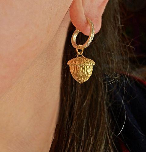 Miniature Acorn Basket Earrings