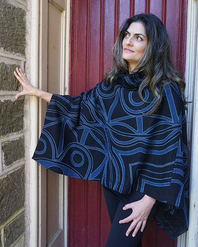 "Black/Indigo ""Dome"" Applique Poncho"