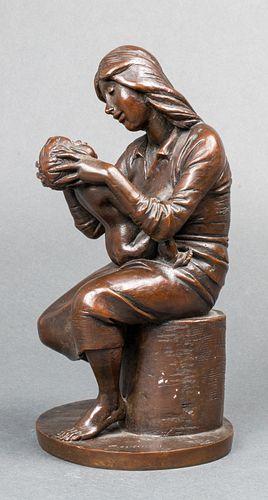 """Bruno Lucchesi """"Mother & Child"""" Modern Bronze"""