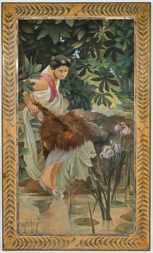 """Neoclassical Style """"Woman at Pond"""" Large Oil"""