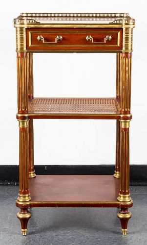Neoclassical Style Brass Mounted 3-Tier End Table
