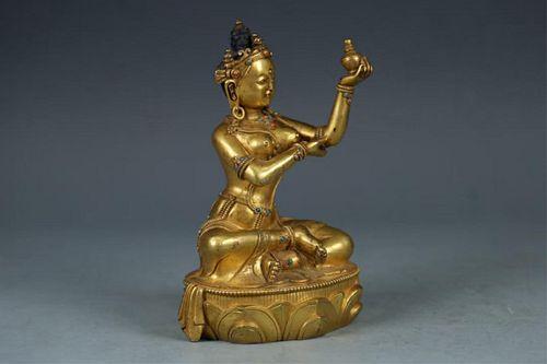 CHINESE BRONZE BUDDHA W/ INLAY CABACHONS