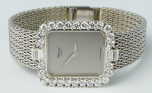 LADIES CHOPARD 18K WHITE GOLD DIAMOND BEZEL WATCH