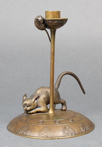 """Arts & Crafts """"Cat and Mouse"""" Bronze Candlestick"""