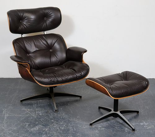 Eames Style Leather Lounge Chair & Ottoman