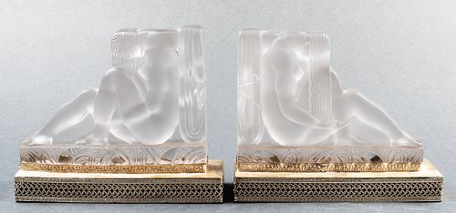 Etling Art Deco Frosted Art Glass Bookends, Pair