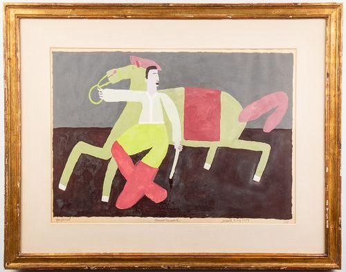 Marcus Crandall Folk Art Acrylic on Paper, 1959