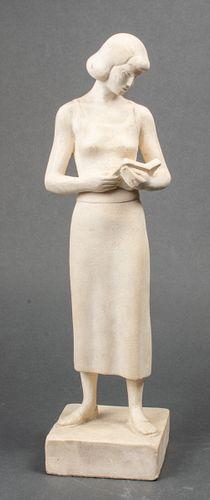 Maurice Glickman Modern Woman Reading Sculpture