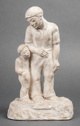 Signed Siegel Sculpture of Father & Son in Plaster