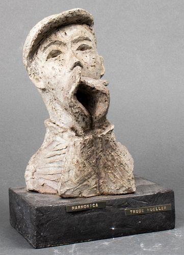 "T. Mueller Folk Art Ceramic ""Harmonica"" Sculpture"