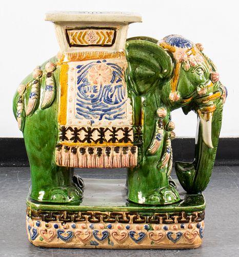 Large Asian Elephant Earthenware Garden Seat