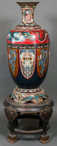 Japanese Palatial Cloisonne Vase on Stand