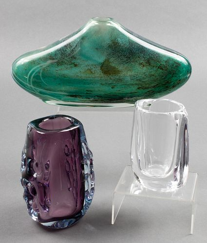 Modern Colorful & Clear Art Glass Vases, 3
