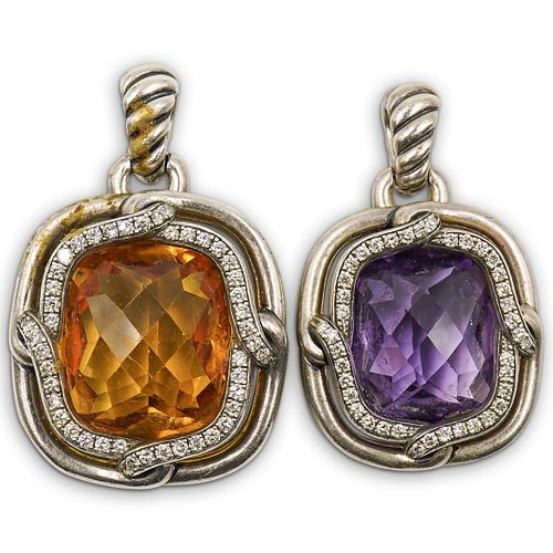 (2 Pc) David Yurman Sterling and Semi Precious Stone Pendants