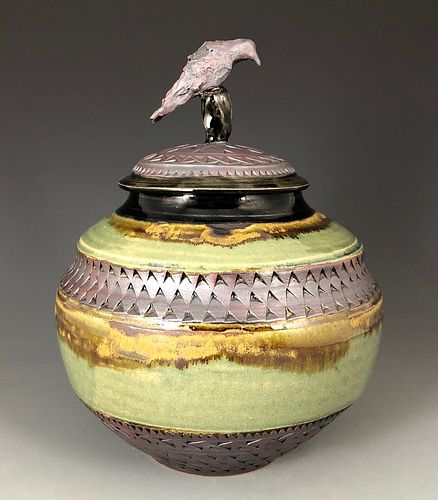 Lidded Jar with Crow on Black Rock