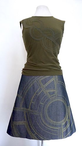 "Grey ""Bontecou"" Stitch A-Line Skirt (SIZE M)"