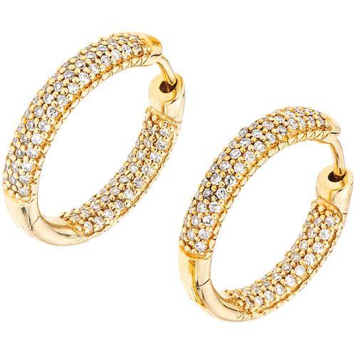 DIAMONDS HOOP EARRINGS. 14K YELLOW GOLD