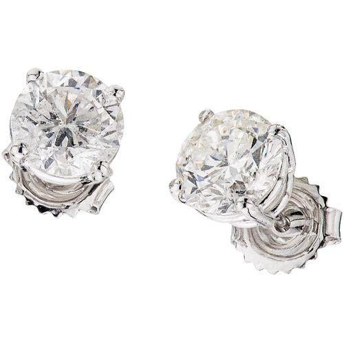 DIAMONDS STUD EARRINGS. 14K WHITE GOLD