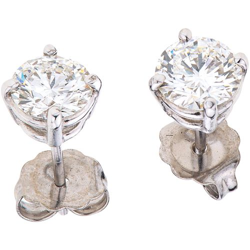 DIAMONDS STUD EARRINGS GIA CERTICATES. 14K WHITE GOLD