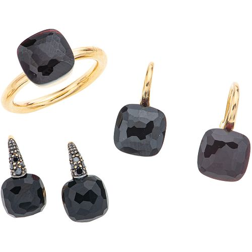RING AND TWO PAIR OF EARRINGS WITH GARNETS, ONYX AND DIAMONDS. 18K PINK GOLD. POMELLATO, CAPRI AND NUDO COLLECTION