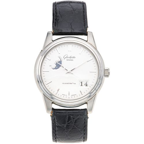 GLASHÜTTE ORIGINAL SENATOR MOONPHASE. STEEL. REF. 39-41-04-12-04