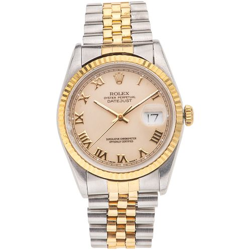 ROLEX OYSTER PERPETUAL DATEJUST. STEEL AND 18K YELLOW GOLD. REF. 16233, CA. 1990