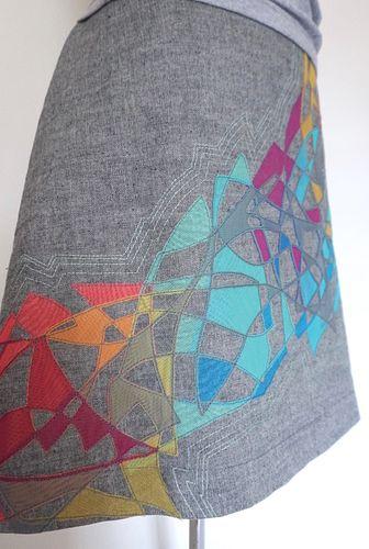 "Heather Gray ""Kaleidoscope"" Applique, A-Line Skirt (SIZE L)"