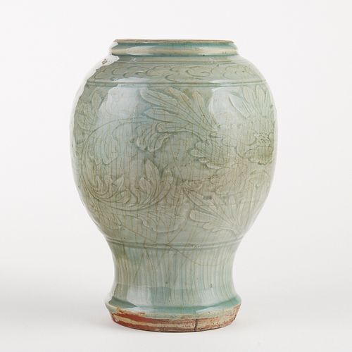 Chinese Longquan Celadon Vase - Cut Down