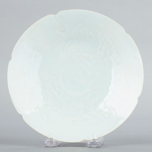 Contemporary Chinese Sung Style Incised Porcelain Dish