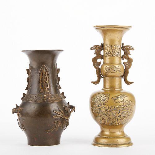 Grp: 2 19th Century Chinese Bronze Vases